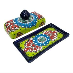 Talavera Mexican Hand Painted Pottery Butter Dish